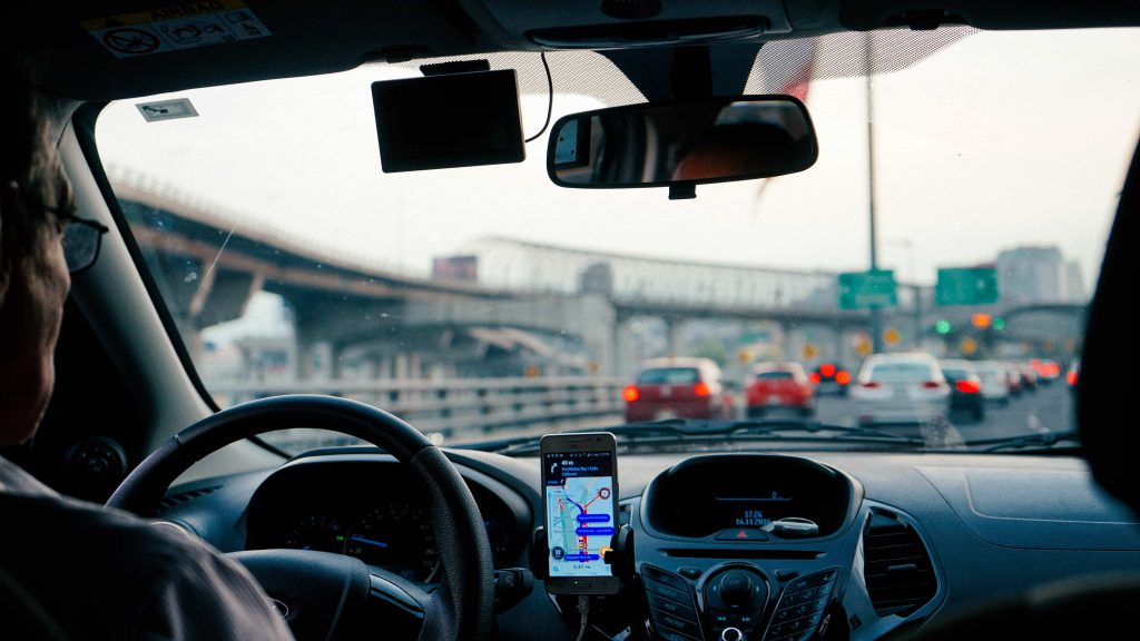 Uber mobile app finding drivers in car - IoT